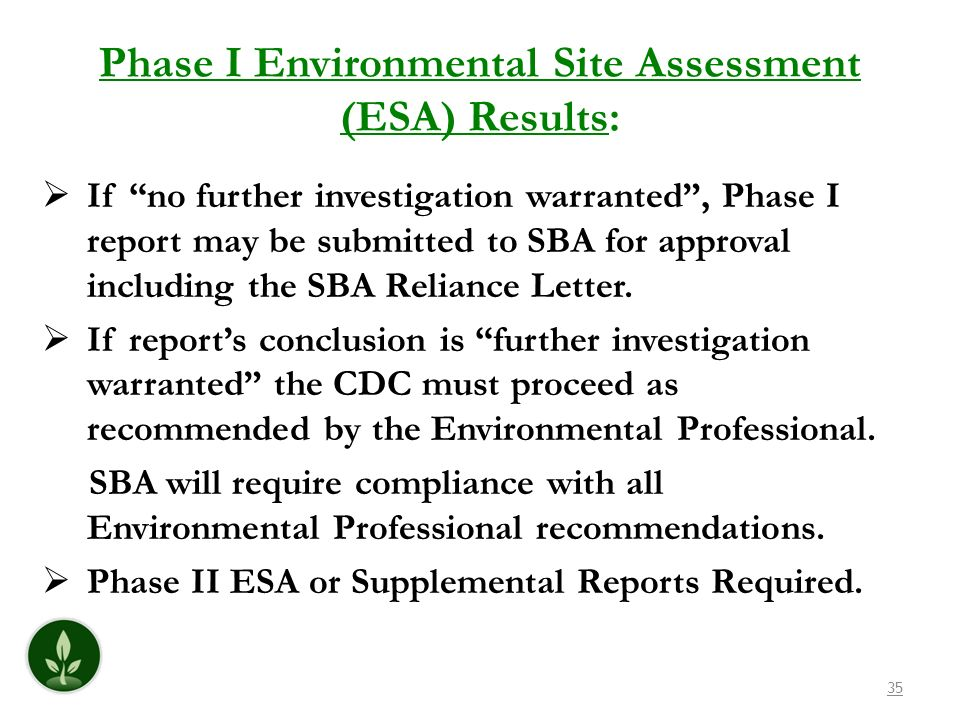 Phase I Environmental Site Assessment (ESA) Results: