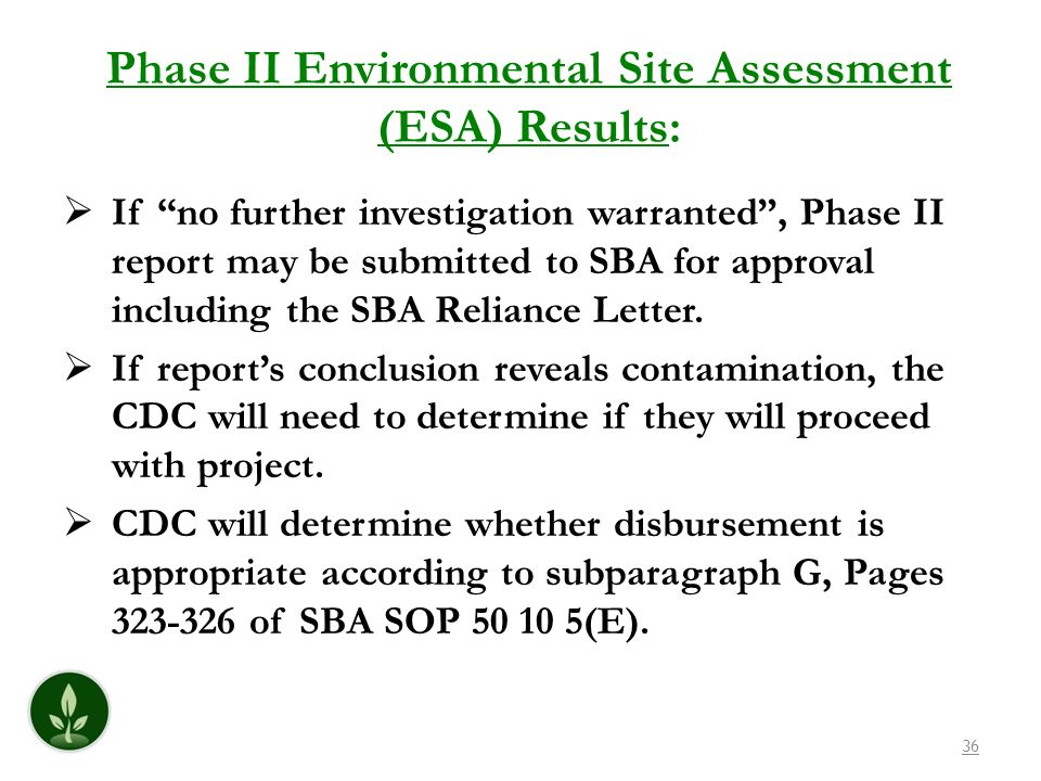 Phase II Environmental Site Assessment (ESA) Results: