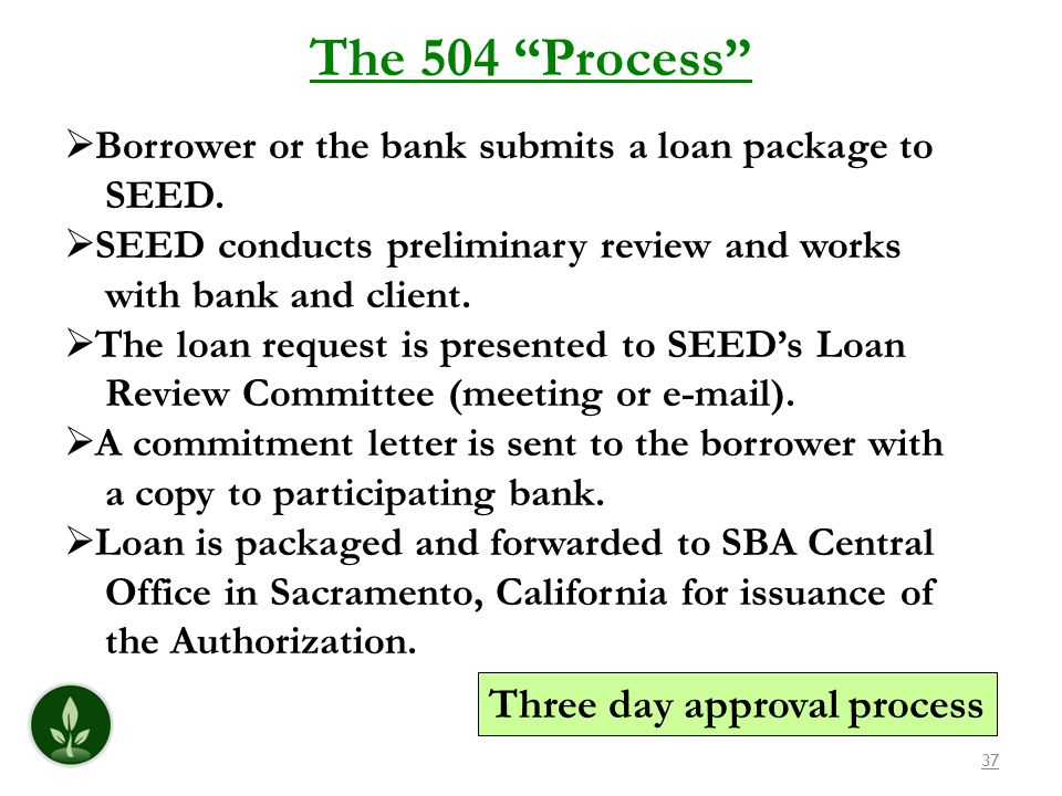 The 504 Process Three day approval process