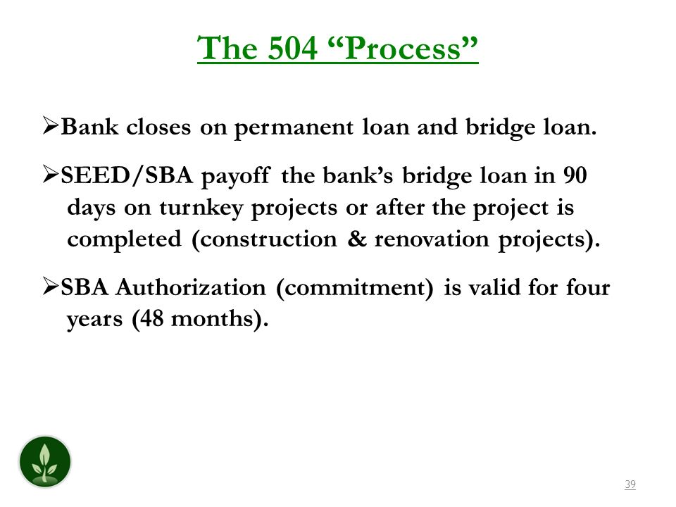 The 504 Process Bank closes on permanent loan and bridge loan.