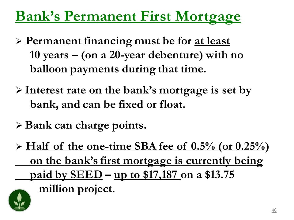 Bank's Permanent First Mortgage