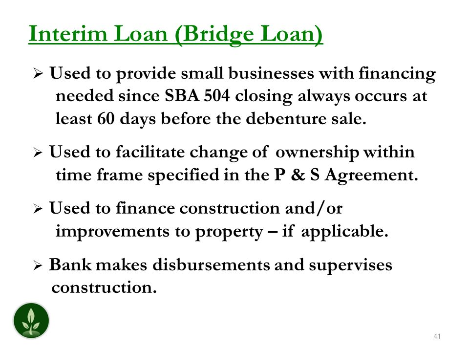 Interim Loan (Bridge Loan)