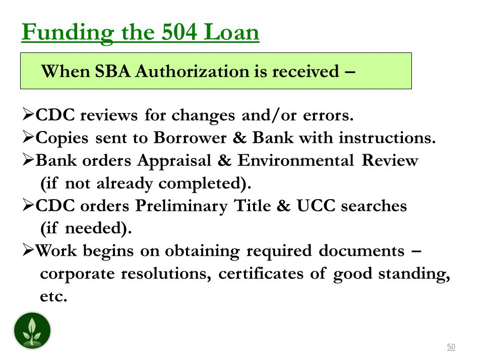Funding the 504 Loan When SBA Authorization is received –