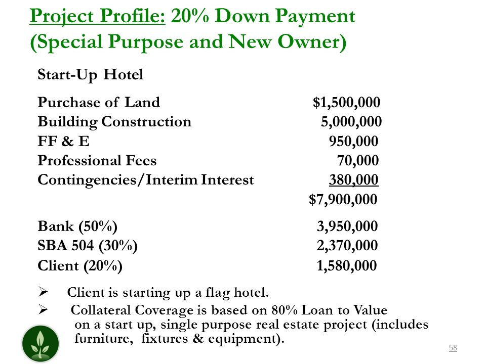 Project Profile: 20% Down Payment (Special Purpose and New Owner)