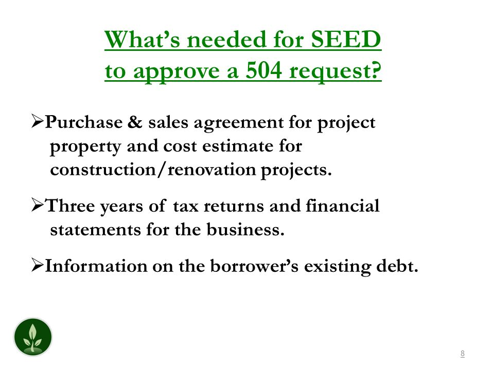 What's needed for SEED to approve a 504 request