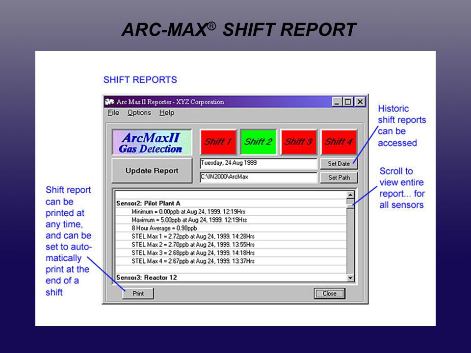 ARC-MAX® SHIFT REPORT