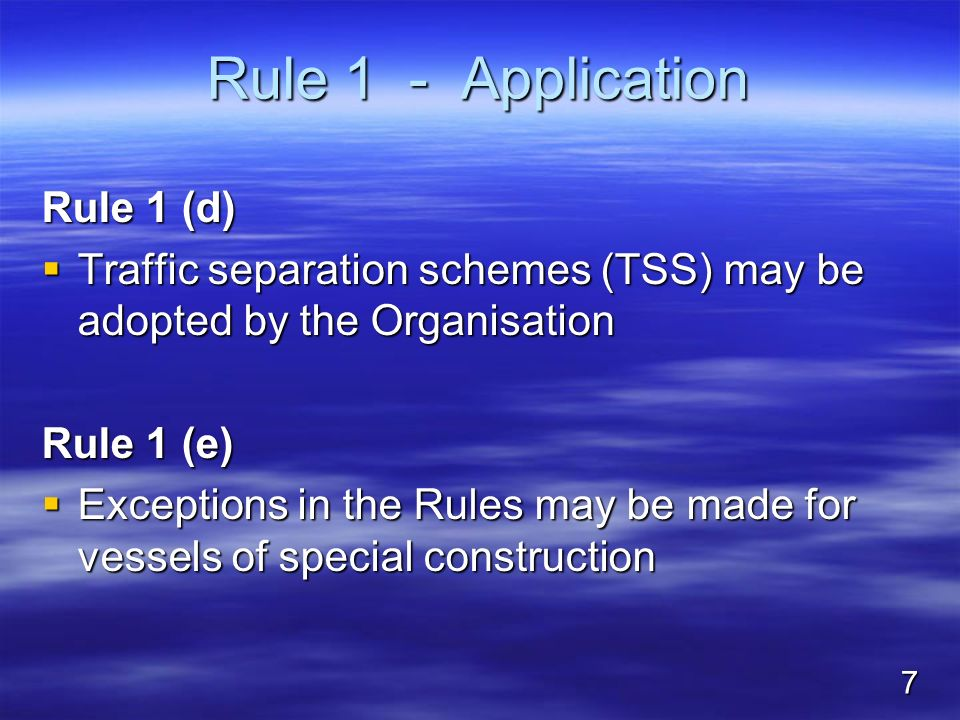 Rule 1 - Application Rule 1 (d)