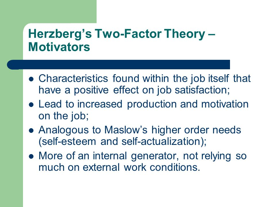 Herzberg's Two-Factor Theory – Motivators