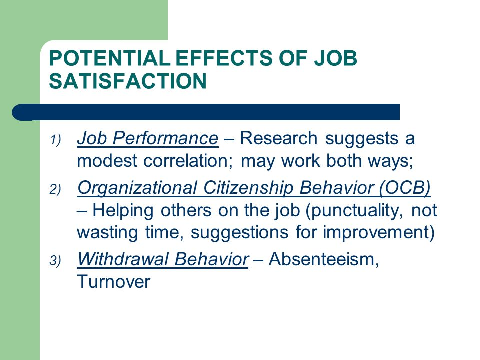 POTENTIAL EFFECTS OF JOB SATISFACTION