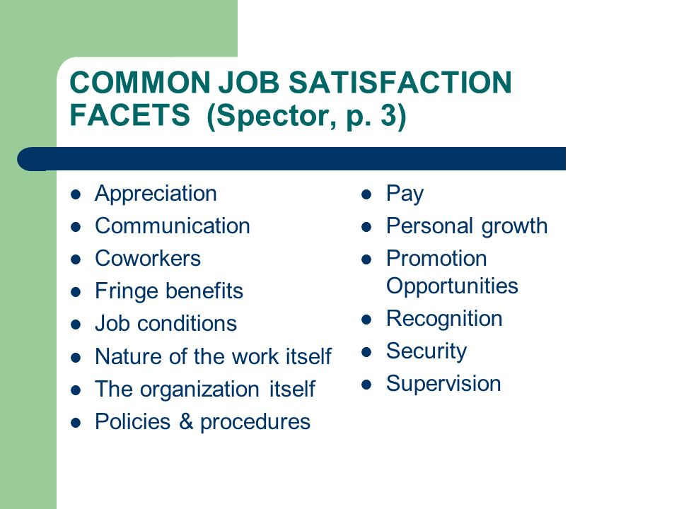COMMON JOB SATISFACTION FACETS (Spector, p. 3)