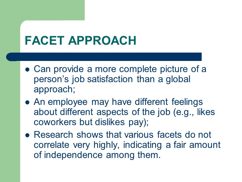 FACET APPROACH Can provide a more complete picture of a person's job satisfaction than a global approach;
