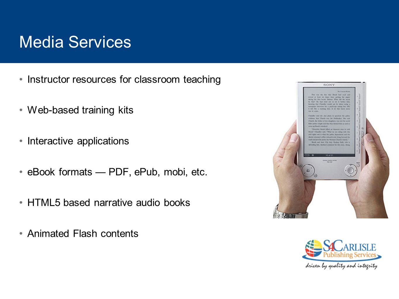 Media Services Instructor resources for classroom teaching