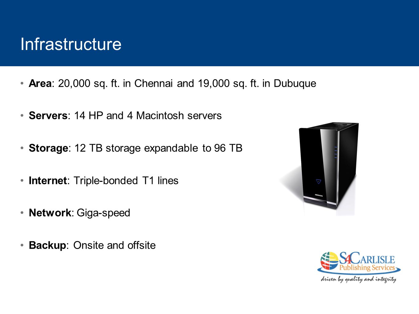 Infrastructure Area: 20,000 sq. ft. in Chennai and 19,000 sq. ft. in Dubuque. Servers: 14 HP and 4 Macintosh servers.