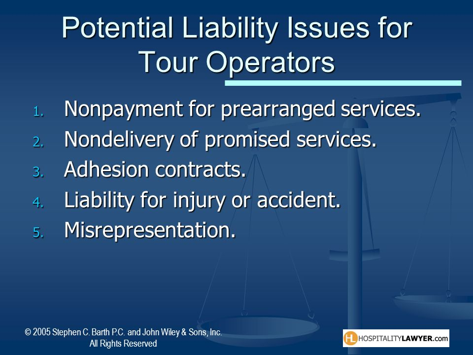 Potential Liability Issues for Tour Operators