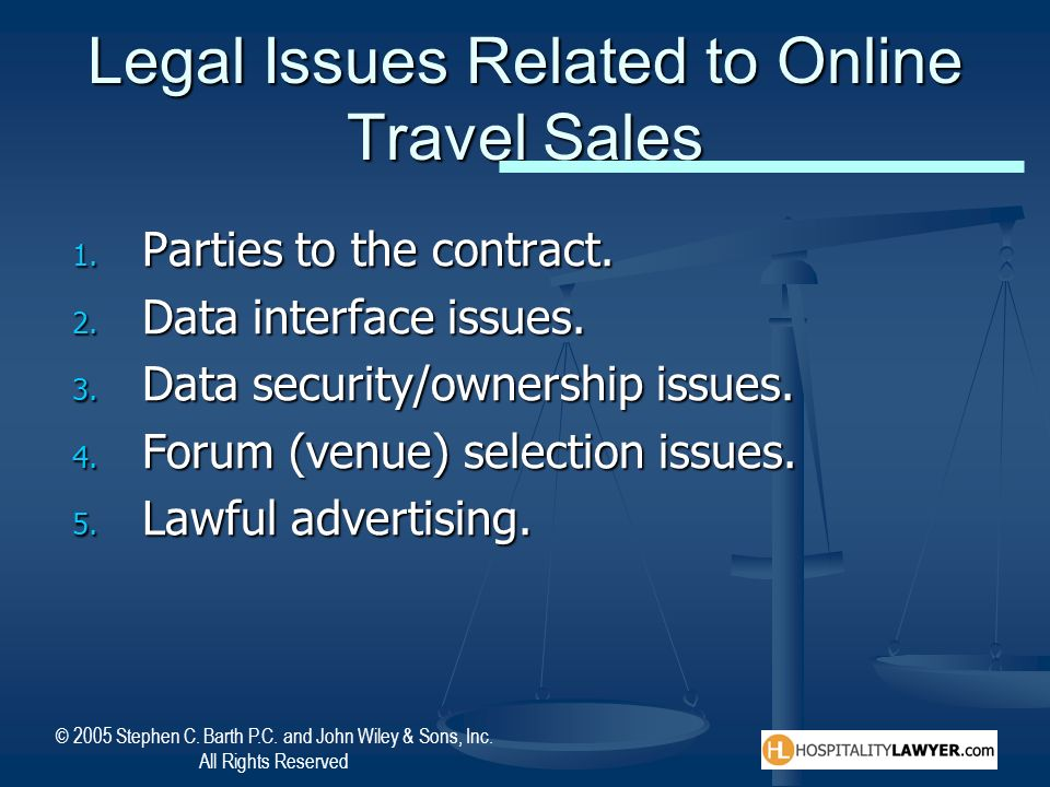 Legal Issues Related to Online Travel Sales