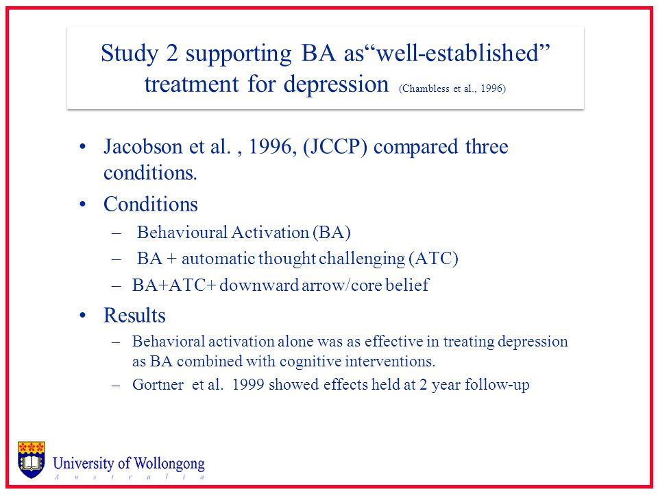 Study 2 supporting BA as well-established treatment for depression (Chambless et al., 1996)