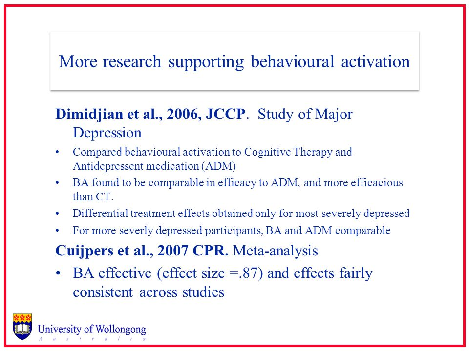 More research supporting behavioural activation