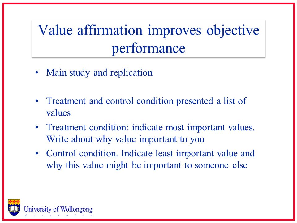 Value affirmation improves objective performance