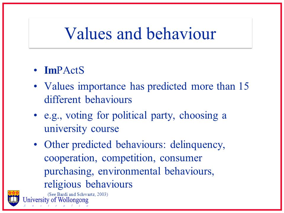Values and behaviour ImPActS