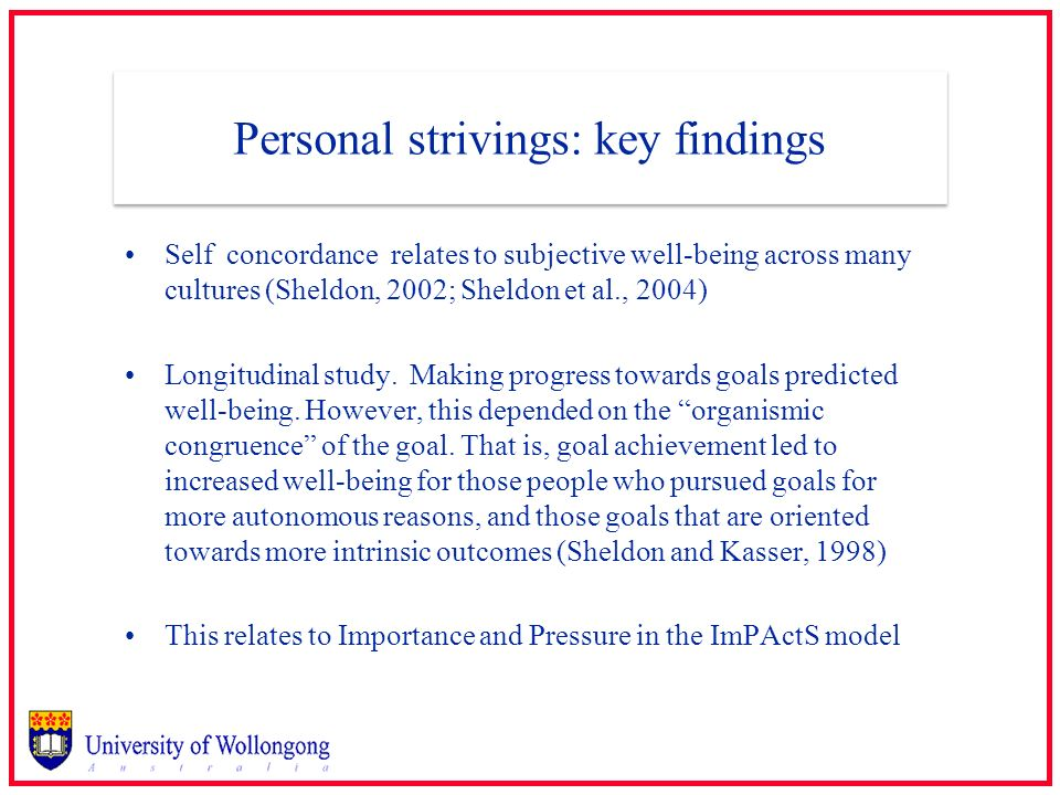 Personal strivings: key findings