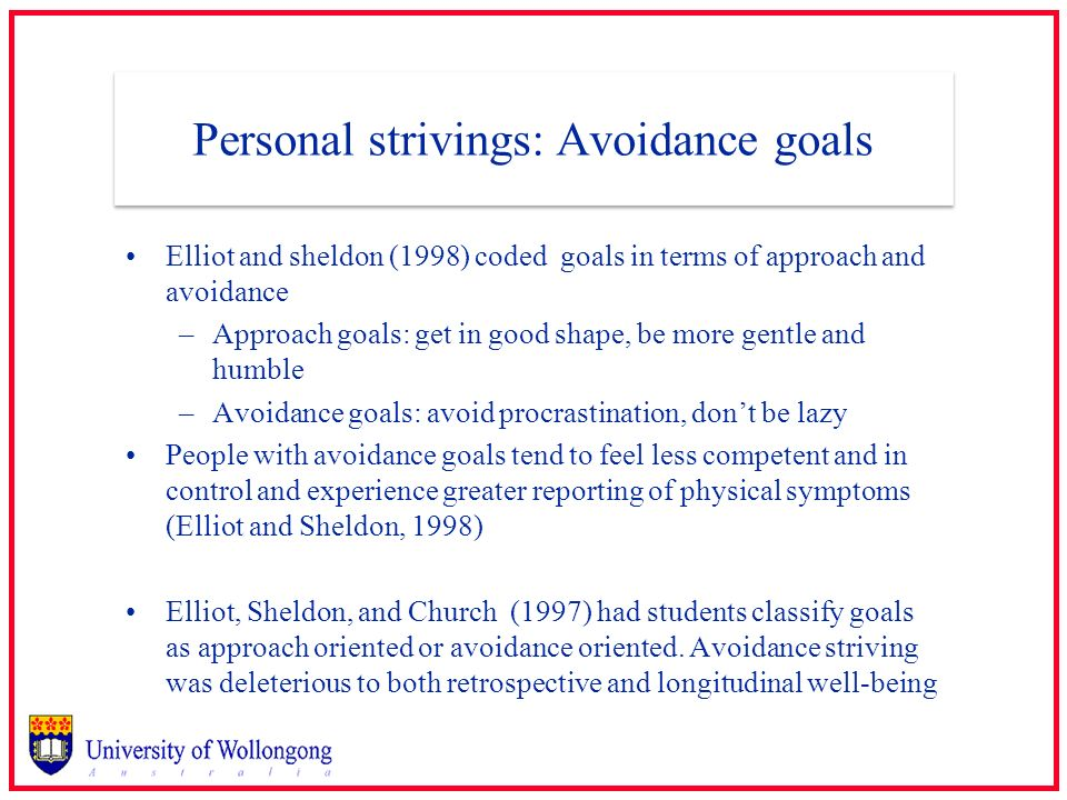 Personal strivings: Avoidance goals