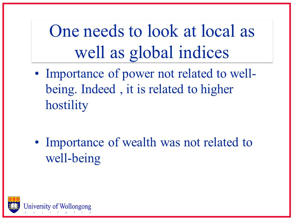 One needs to look at local as well as global indices