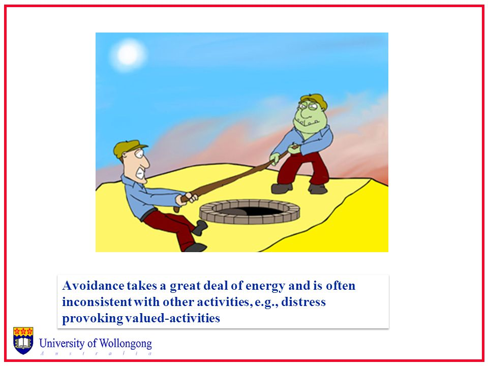 Avoidance takes a great deal of energy and is often inconsistent with other activities, e.g., distress provoking valued-activities