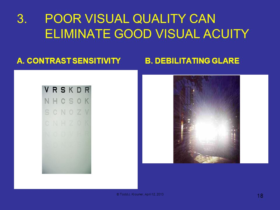 3. POOR VISUAL QUALITY CAN ELIMINATE GOOD VISUAL ACUITY