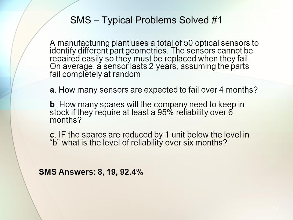 SMS – Typical Problems Solved #1