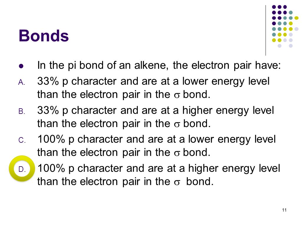 Bonds In the pi bond of an alkene, the electron pair have: