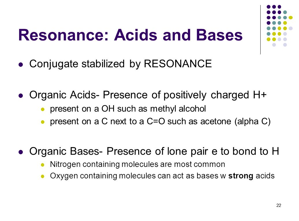 Resonance: Acids and Bases