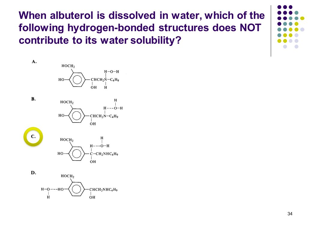 When albuterol is dissolved in water, which of the following hydrogen-bonded structures does NOT contribute to its water solubility