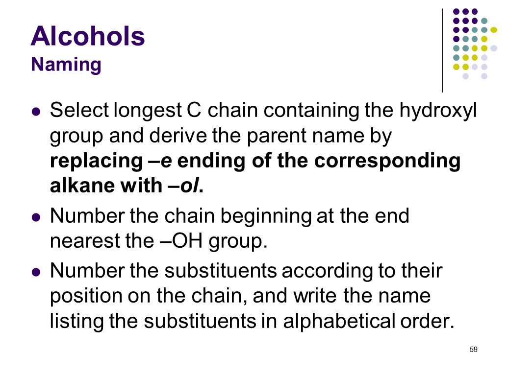 Alcohols Naming