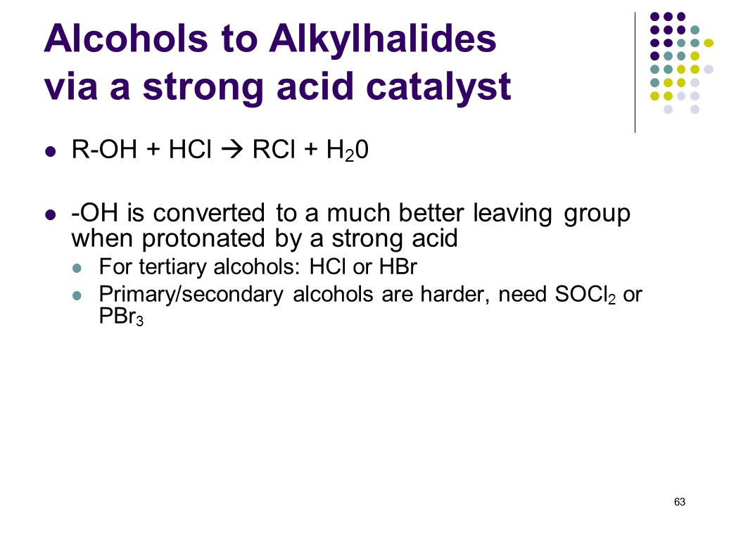 Alcohols to Alkylhalides via a strong acid catalyst