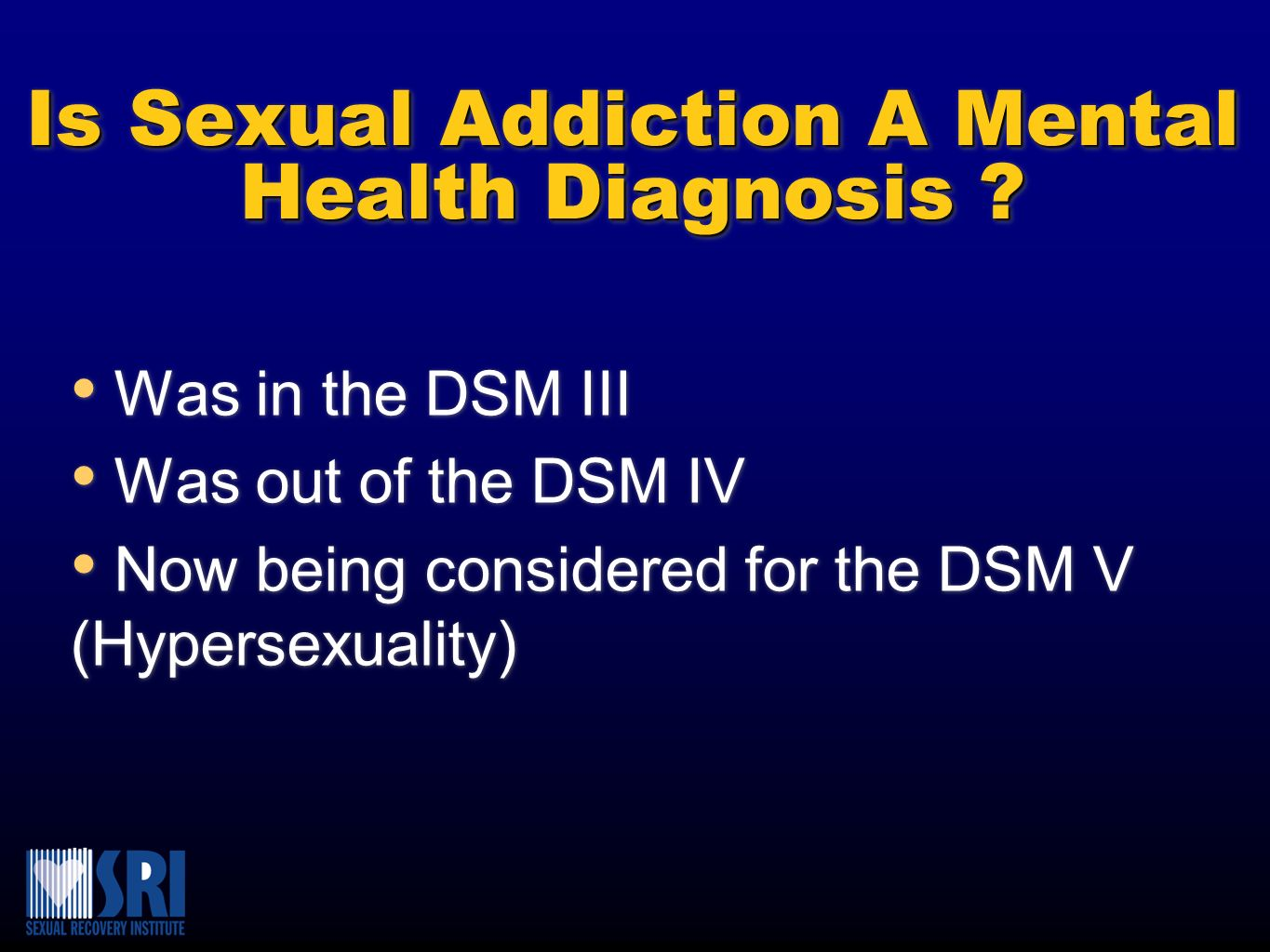 Is Sexual Addiction A Mental Health Diagnosis