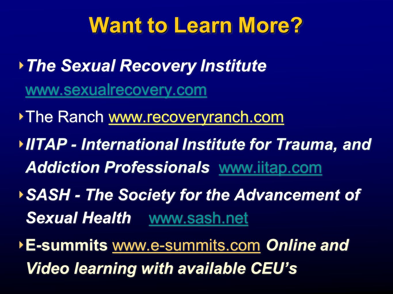 Want to Learn More The Sexual Recovery Institute   The Ranch