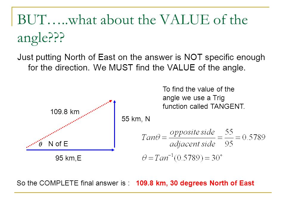 BUT…..what about the VALUE of the angle