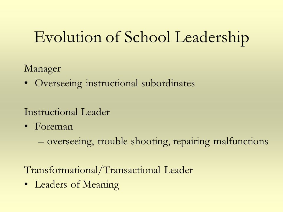 Evolution of School Leadership