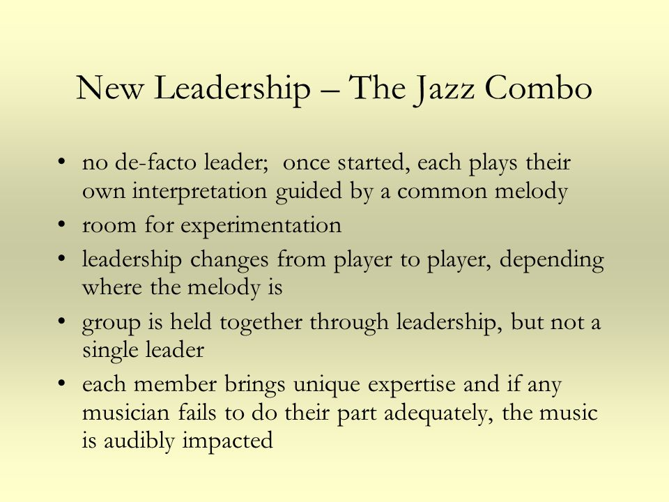 New Leadership – The Jazz Combo