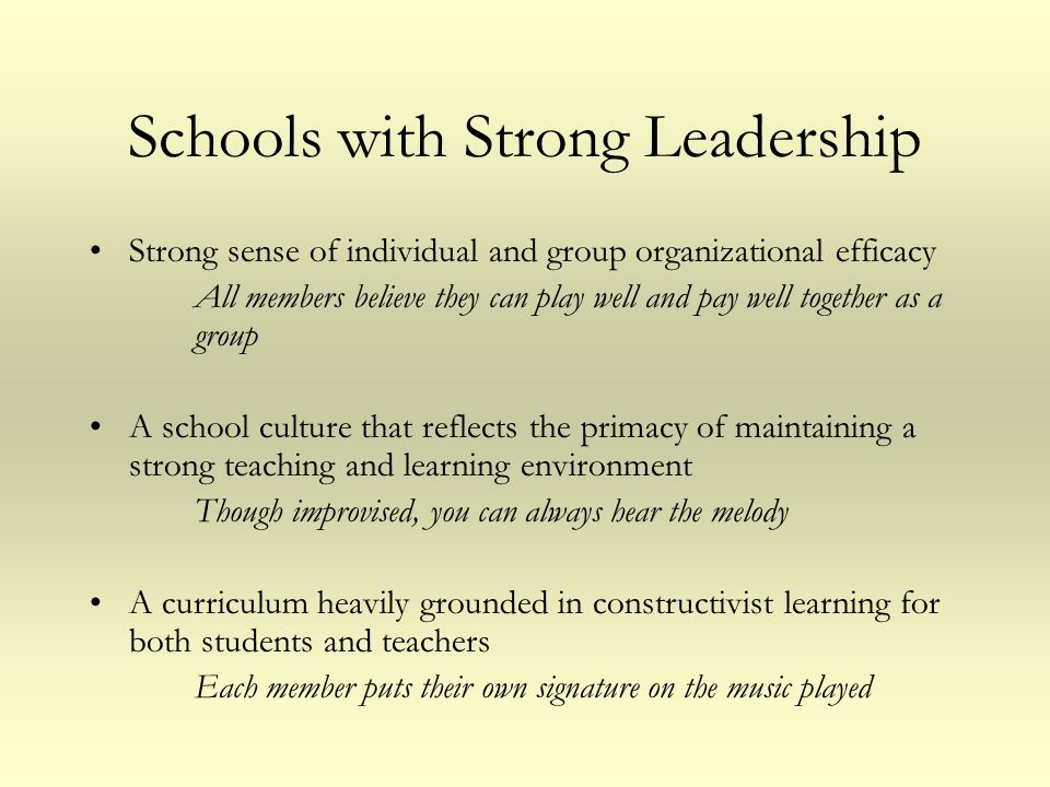 Schools with Strong Leadership