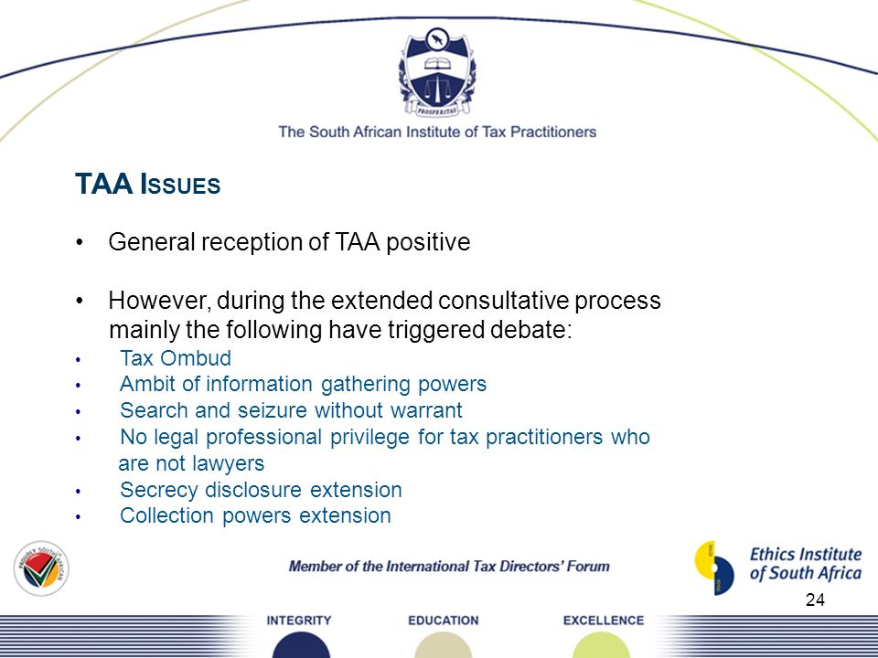 TAA ISSUES General reception of TAA positive