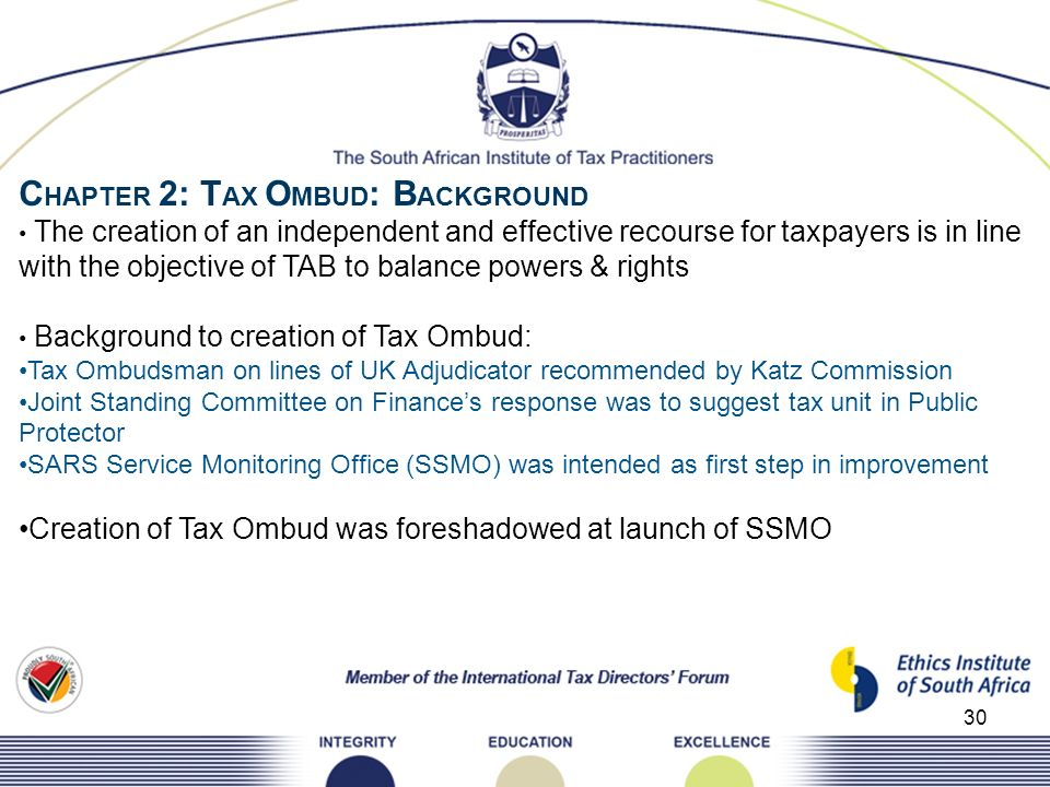 CHAPTER 2: TAX OMBUD: BACKGROUND