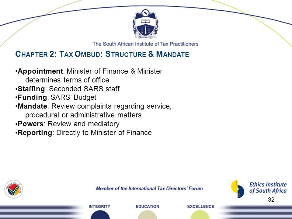 CHAPTER 2: TAX OMBUD: STRUCTURE & MANDATE