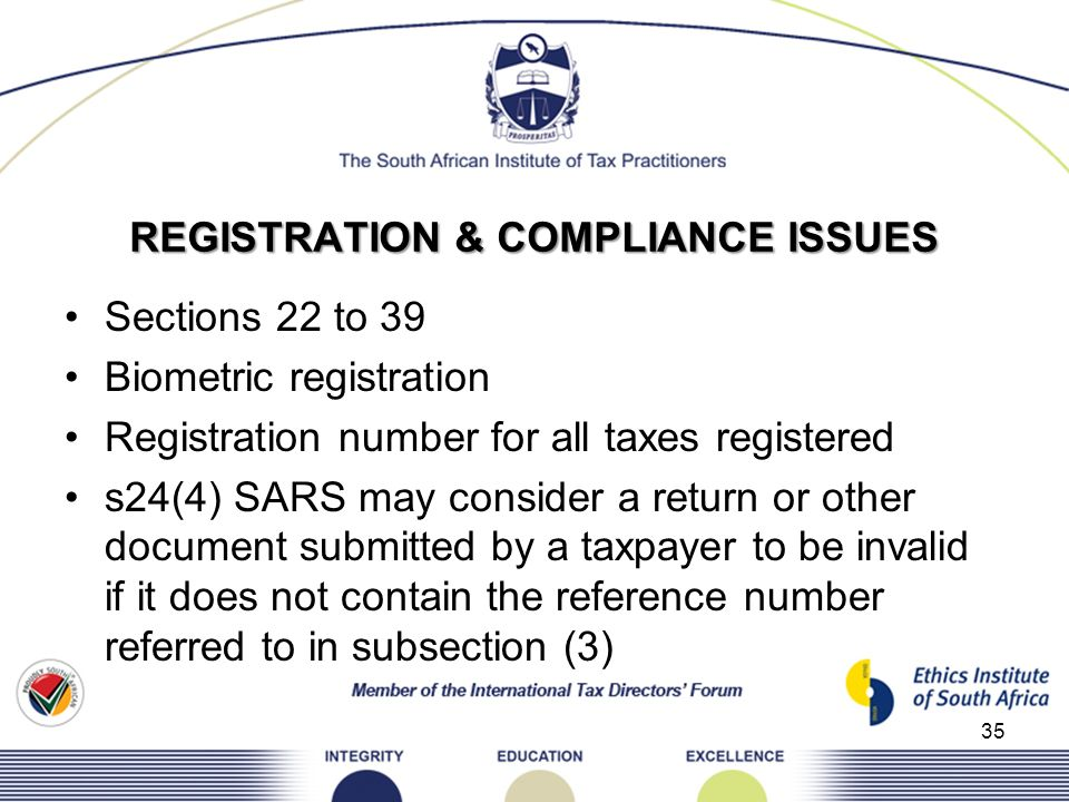 REGISTRATION & COMPLIANCE ISSUES