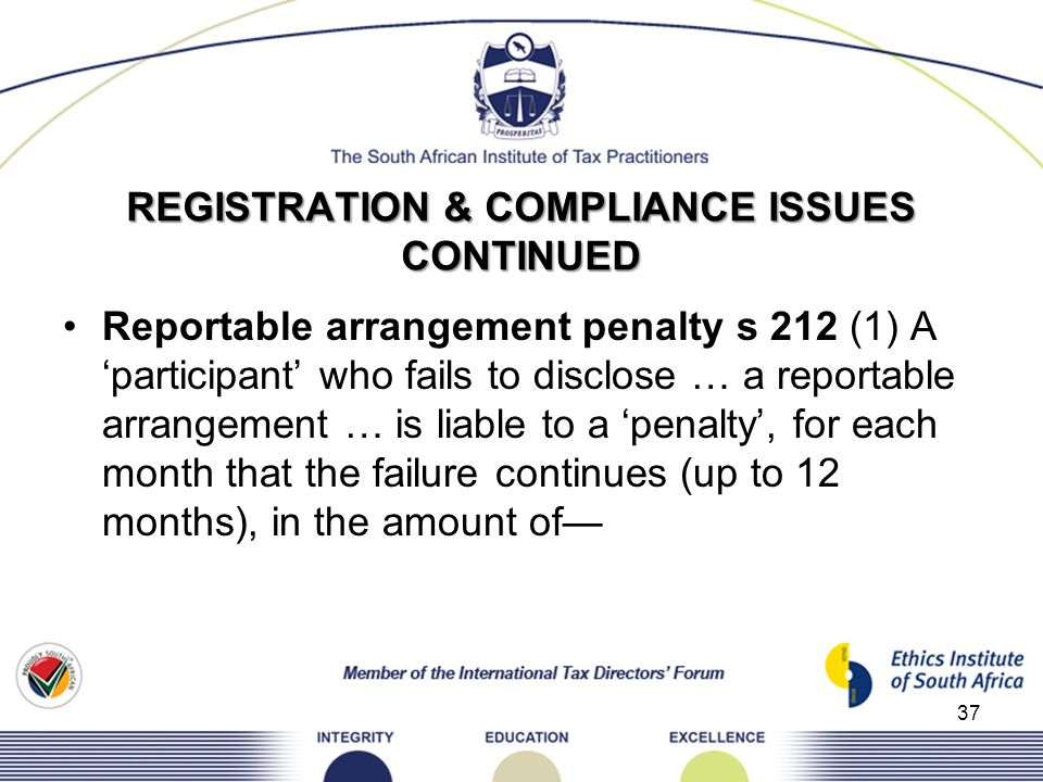 REGISTRATION & COMPLIANCE ISSUES CONTINUED