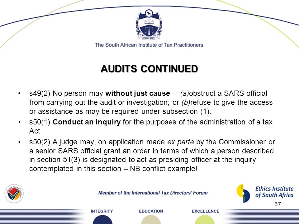 AUDITS CONTINUED