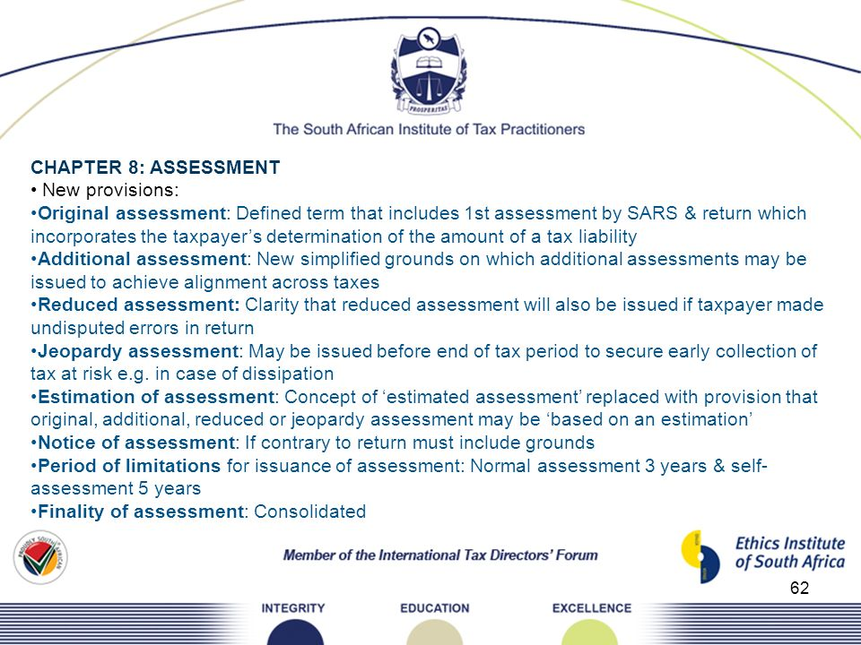 CHAPTER 8: ASSESSMENT • New provisions: