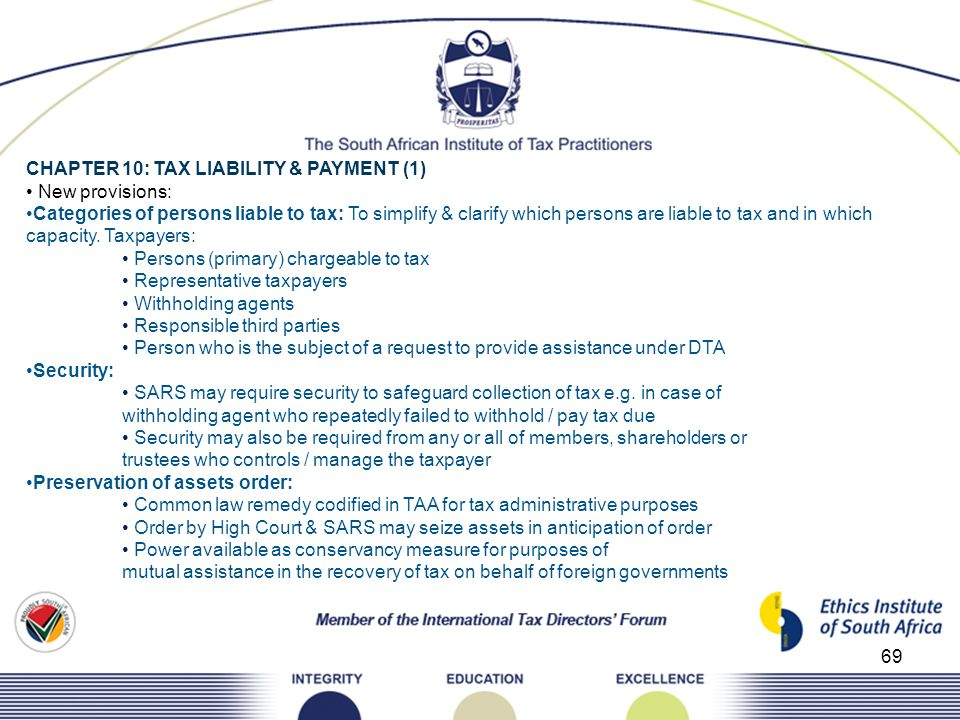 CHAPTER 10: TAX LIABILITY & PAYMENT (1)