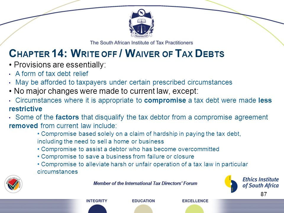 CHAPTER 14: WRITE OFF / WAIVER OF TAX DEBTS