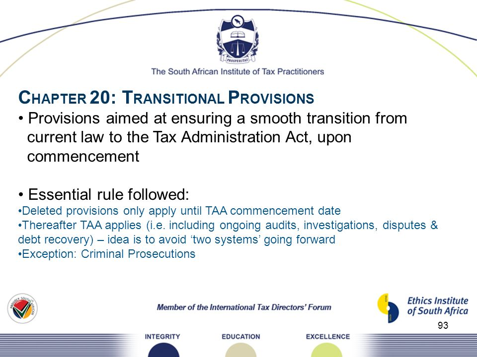 CHAPTER 20: TRANSITIONAL PROVISIONS